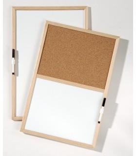 Tableau memomixte 40x60 tableau d'affichage 1/2 liège, 1/2 effacable